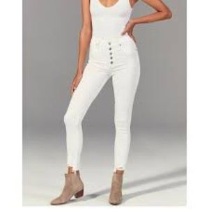 Abercrombie & Fitch White High Rise Skinny Jeans